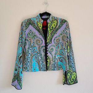 JS Collection Paisley Blue/Purple Cropped Blazer